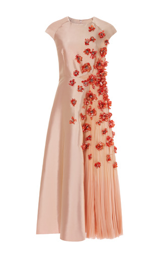 Medium bibhu mohapatra coral 3 d flower embellished twill dress with chiffon inset