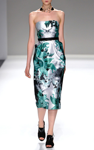 Sage Palash Strapless Dress by BIBHU MOHAPATRA for Preorder on Moda Operandi