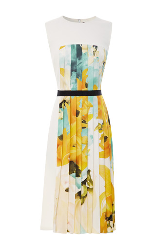 Medium bibhu mohapatra gold sleeveless twill dress with printed pleated inset