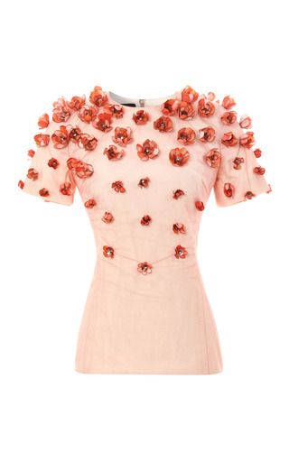 Medium bibhu mohapatra coral baby tulip embellished top