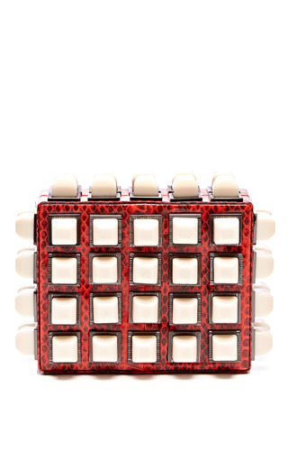 Medium tonya hawkes coral lucite studded snakeskin clutch
