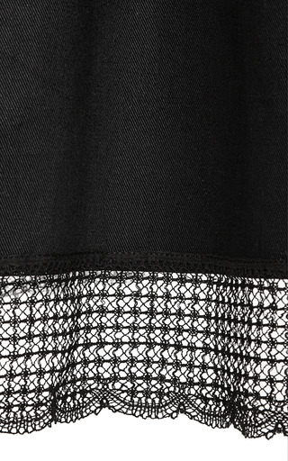 Lace Trimmed Cotton A Line Midi Skirt by MEADHAM KIRCHHOFF Now Available on Moda Operandi