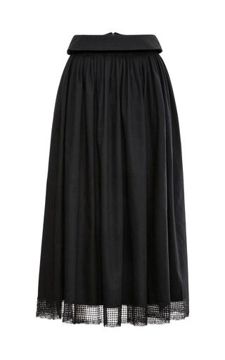Medium meadham kirchhoff black lace trimmed cotton a line midi skirt
