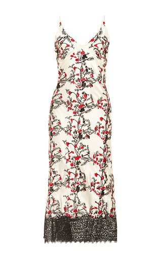 Medium meadham kirchhoff red embroidered long silk slip dress