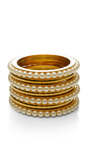 Gold Plated And Pearl Bangle Set by FALLON Now Available on Moda Operandi