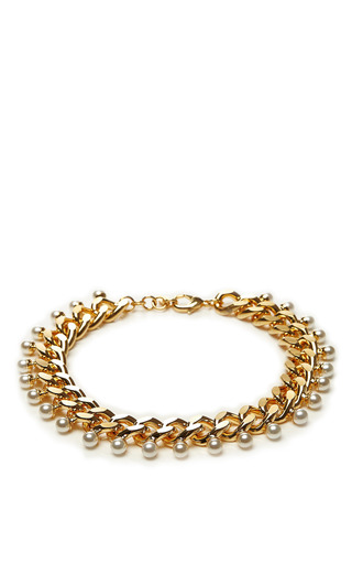 Swarovski Crystal And Pearl Gold Plated Necklace by FALLON Now Available on Moda Operandi