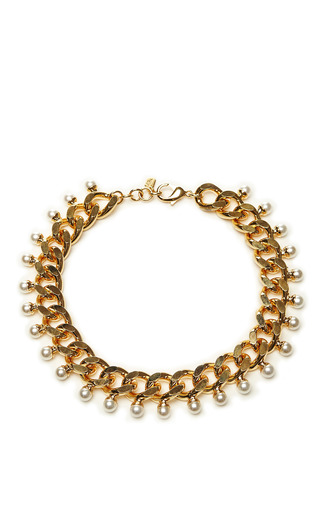 Medium fallon gold swarovski crystal and pearl gold plated necklace