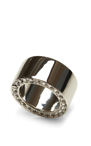 Rhodium Plated Pave Ring by FALLON Now Available on Moda Operandi