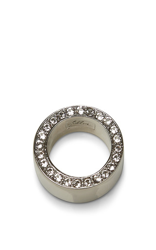 Medium fallon metallic rhodium plated pave ring