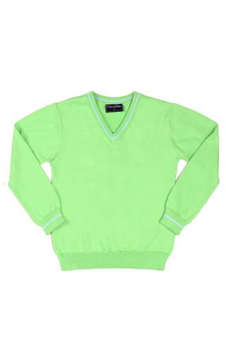 Medium oscar de la renta green boys cotton v neck pullover 2