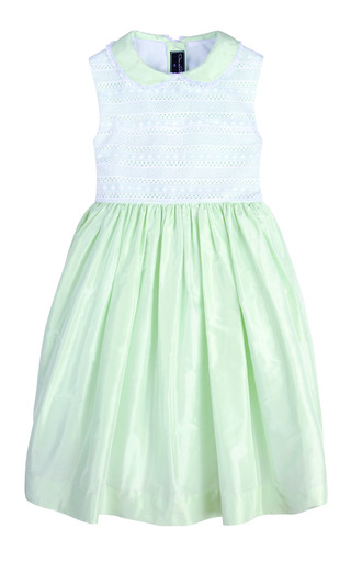 Girls Sleeveless Silk Dress With Lace Bodice by OSCAR DE LA RENTA for Preorder on Moda Operandi