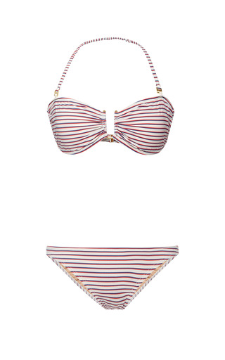 Medium ete swim red roman striped bikini