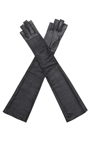 Medium imoni black long fingerless leather gloves