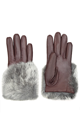 Leather And Rabbit Fur Gloves by IMONI Now Available on Moda Operandi