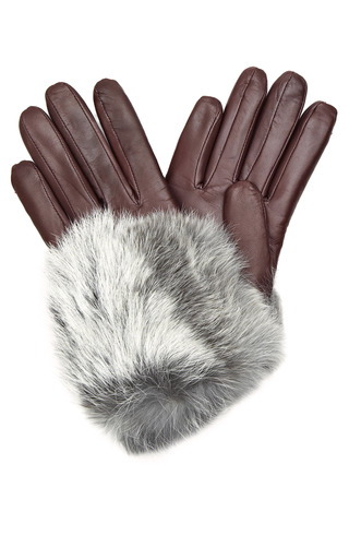 Medium imoni burgundy leather and rabbit fur gloves 2