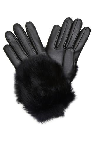 Medium imoni black leather and rabbit fur gloves