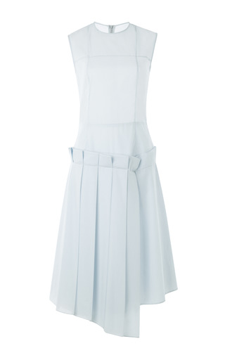 Medium a w a k e blue asymmetrical dress with partially pleated skirt