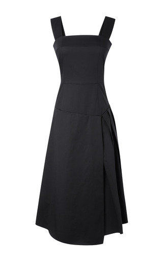 Medium a w a k e black cotton tank dress with partially pleated skirt