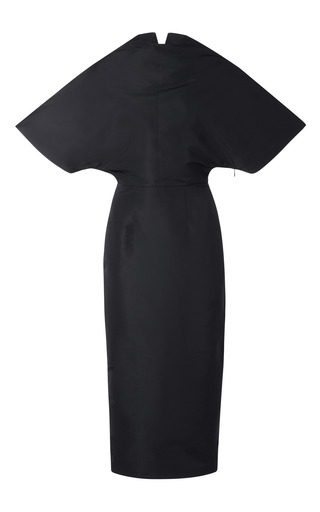 Medium a w a k e black fitted cape dress
