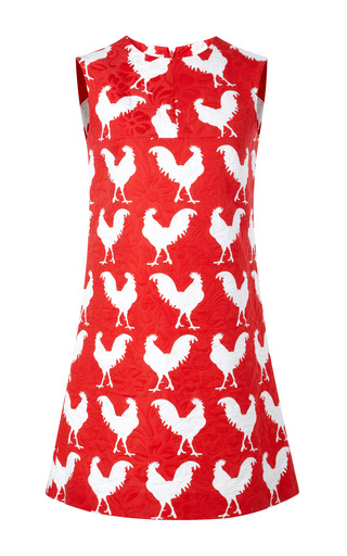 Medium a w a k e red rooster print jacquard shift dress