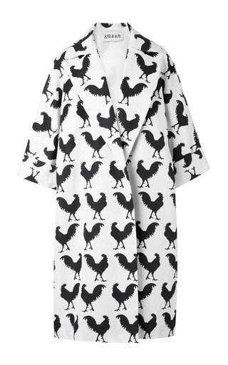 Medium a w a k e white oversize white rooster coat