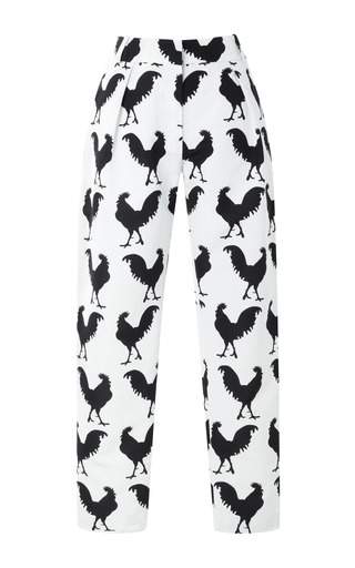 Medium a w a k e white relaxed fit rooster print pants