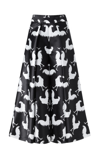Black And White Rooster Print Culottes by A.W.A.K.E. for Preorder on Moda Operandi