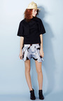 Double Pleat Rooster Print Shorts by A.W.A.K.E. for Preorder on Moda Operandi