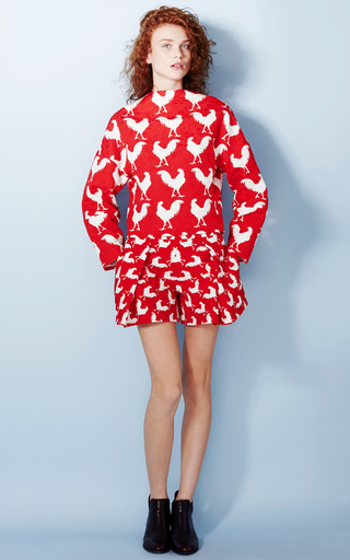 Rooster Print Jacquard Pleat Front Shorts by A.W.A.K.E. for Preorder on Moda Operandi