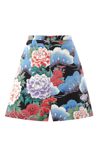 High Waist Yakuza Floral Pinup Shorts by A.W.A.K.E. for Preorder on Moda Operandi