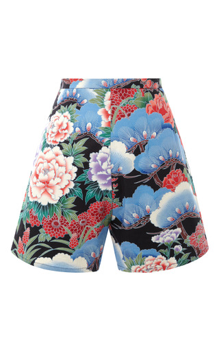 Medium a w a k e print high waist yakuza floral pinup shorts
