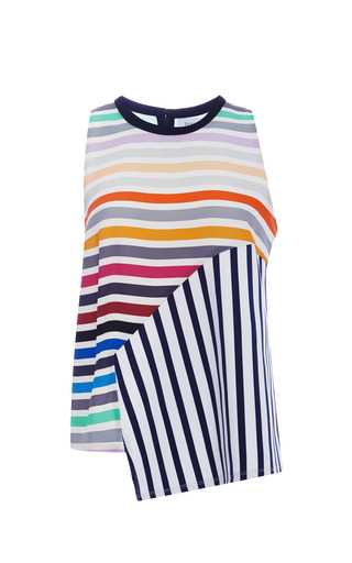Medium tanya taylor white calla striped asymmetric tank