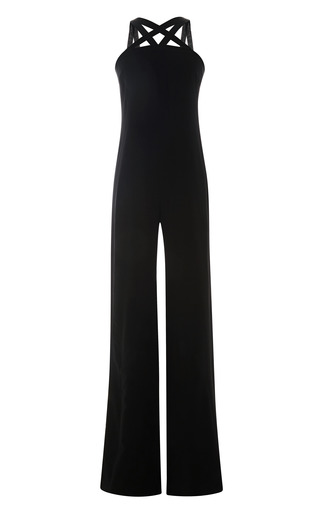 Medium martin grant black grosgrain strap wool jumpsuit