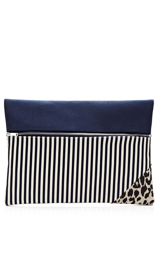 Medium vanities white striped and printed zip clutch