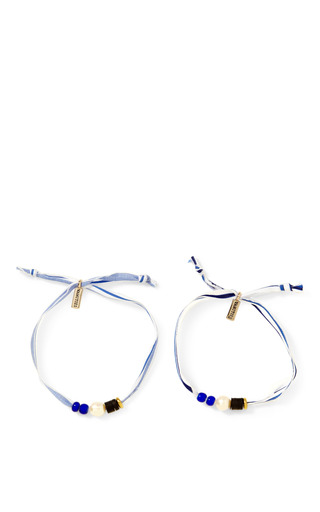 Pearl Embellished Ribbon Bracelet Set by VANITIES Now Available on Moda Operandi