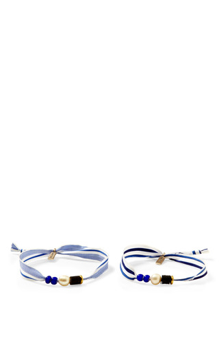 Medium vanities blue pearl embellished ribbon bracelet set
