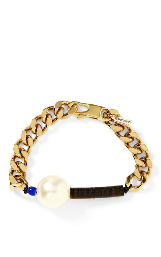 Pearl Embellished Chain Bracelet by VANITIES Now Available on Moda Operandi