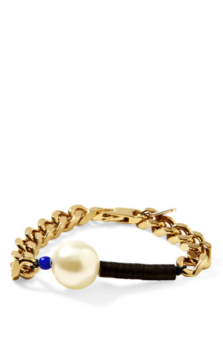 Medium vanities gold pearl embellished chain bracelet