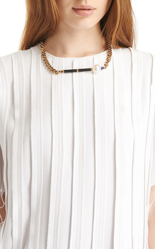 Pearl Embellished Chain Necklace by VANITIES Now Available on Moda Operandi