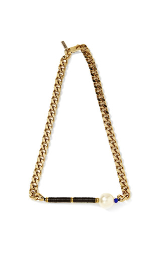 Medium vanities gold pearl embellished chain necklace