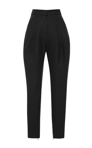 Medium delpozo black high waisted pleated woven pants