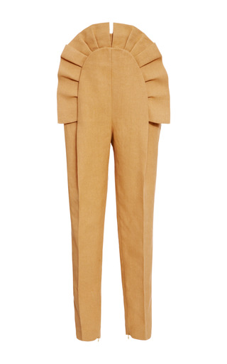 Medium delpozo brown ruffled pleated pants