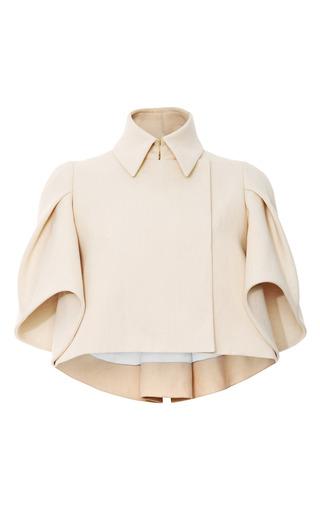 Medium delpozo ivory woven cape effect cropped jacket