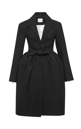 Medium delpozo black woven peplum coat