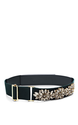 Medium marni green embellished canvas belt
