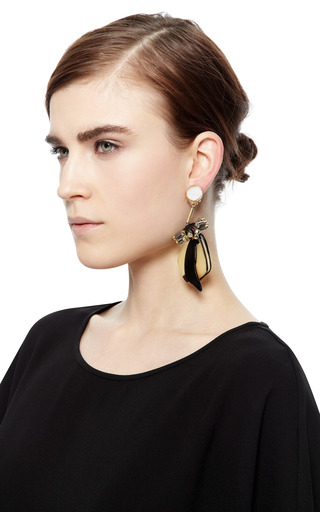 Horn Drop Earrings by MARNI Now Available on Moda Operandi