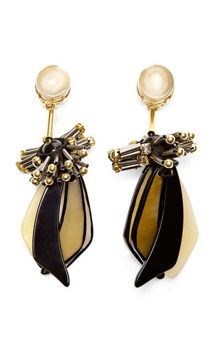 Medium marni gold horn drop earrings