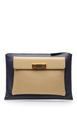 Medium marni blue two tone zip top leather clutch