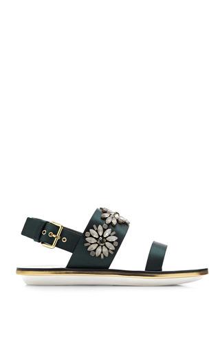Medium marni green embellished satin sandals