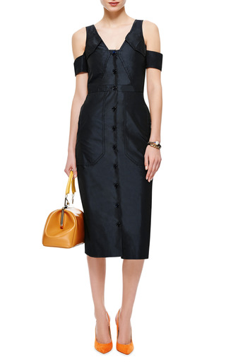 Satin Twill Button Up Dress by CARVEN Now Available on Moda Operandi